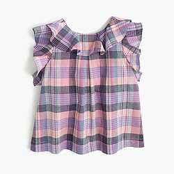 Girls' ruffled plaid top