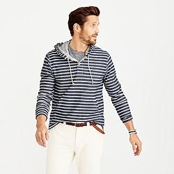 Henley hoodie in navy stripe