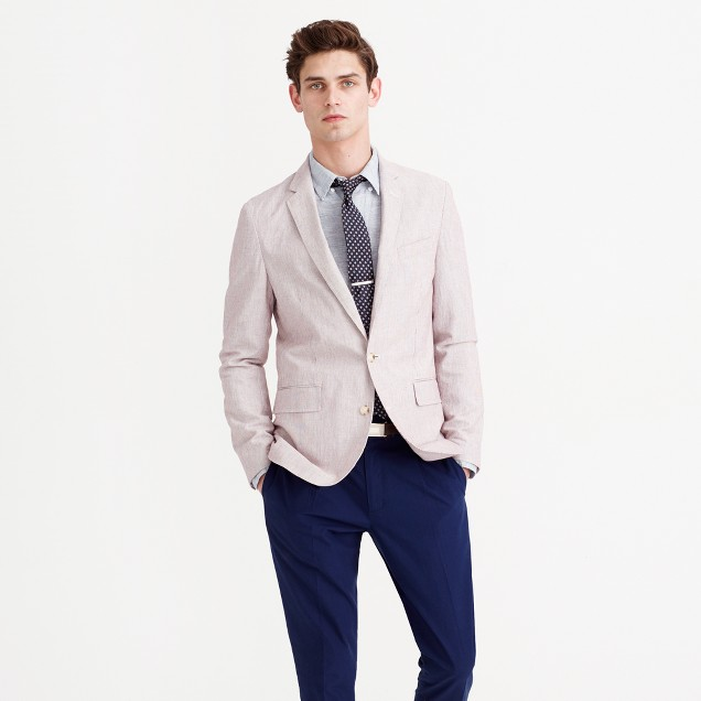 Ludlow summerweight cotton-linen blazer in fine stripe