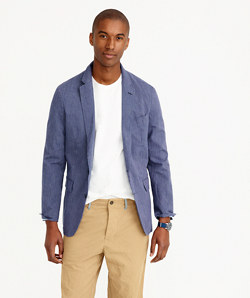 Ludlow summerweight cotton-linen blazer in navy fine stripe