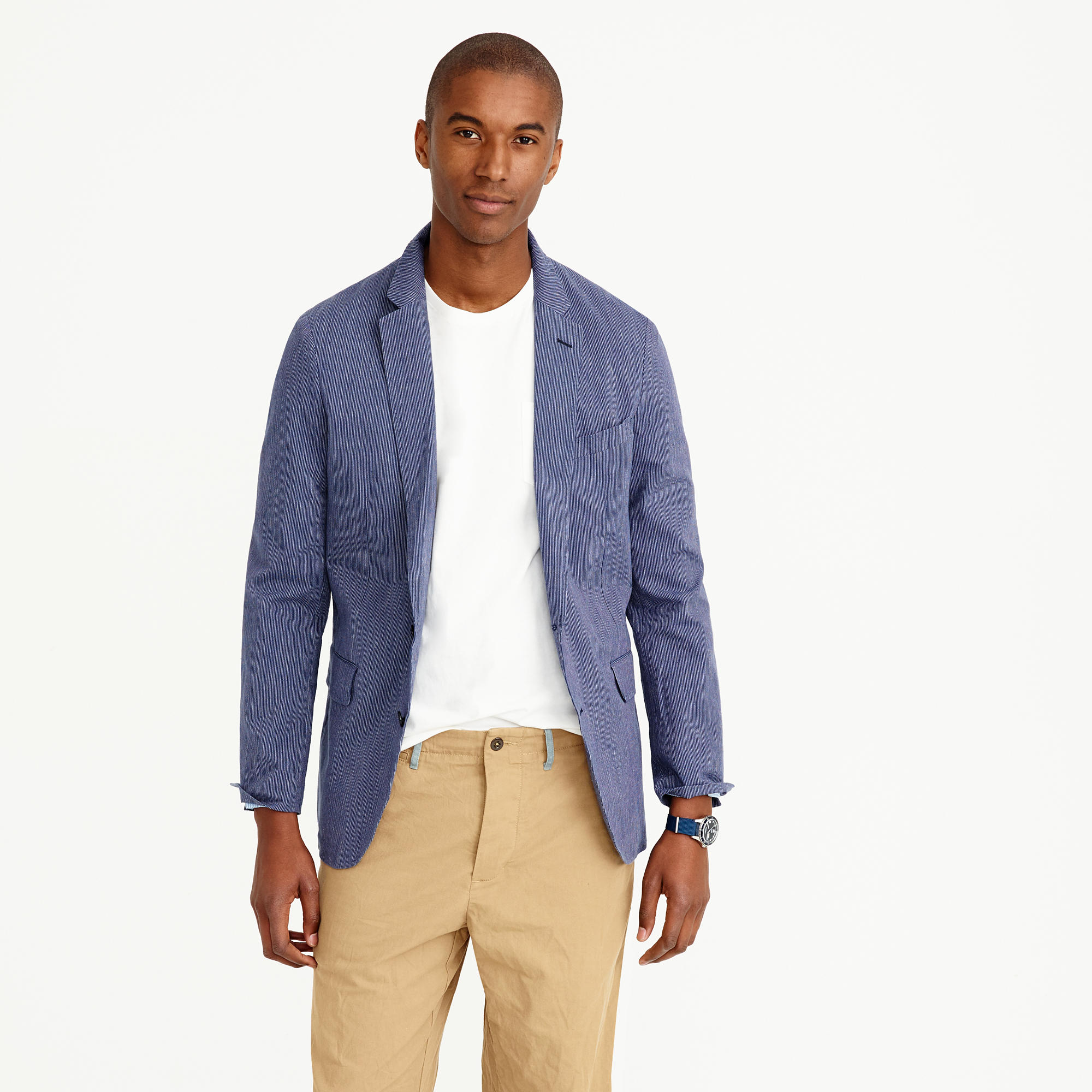 Ludlow summerweight cotton-linen blazer in navy fine stripe : | J.Crew