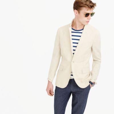 Ludlow unstructured cotton-linen blazer in khaki sand