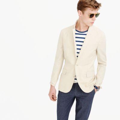 Ludlow unstructured cotton-linen blazer in khaki sand
