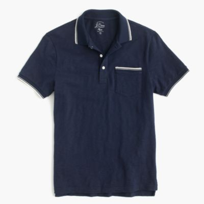 Textured cotton tipped polo shirt