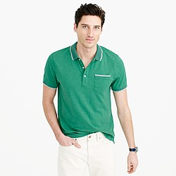 Tall textured cotton tipped polo shirt