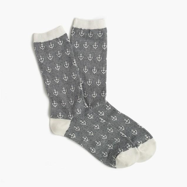 Anchor striped trouser socks