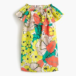 Girls' two-way ruffle dress in punchy hibiscus