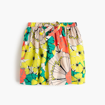 Girls' pull-on skirt in punchy hibiscus