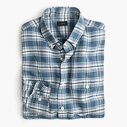 Slim end-on-end linen-cotton shirt in navy plaid