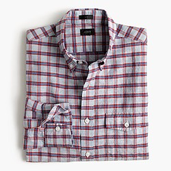 Slim end-on-end linen-cotton shirt in red check