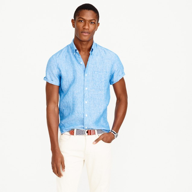 Short-sleeve délavé Irish linen shirt