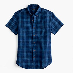 Short-sleeve Irish linen shirt in indigo plaid