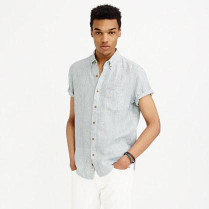 Slim short-sleeve shirt in ticking-striped Irish linen