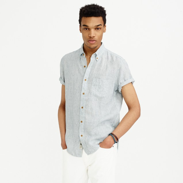 Tall short-sleeve shirt in ticking-striped Irish linen