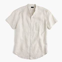 Short-sleeve band-collar shirt in Irish linen