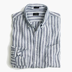 Délavé Irish linen shirt in navy ink stripe