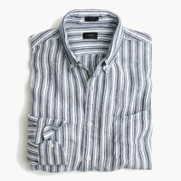 Slim délavé Irish linen shirt in navy ink stripe