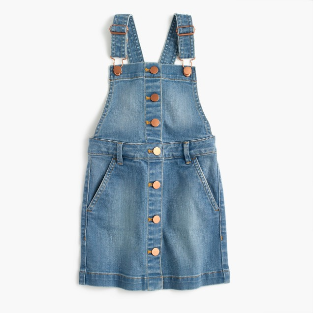 Girls' denim overall dress