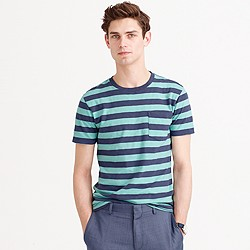 Textured cotton T-shirt in purple stripe