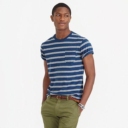 Textured cotton T-shirt in blue stripe