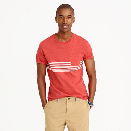 Textured cotton T-shirt in red stripe
