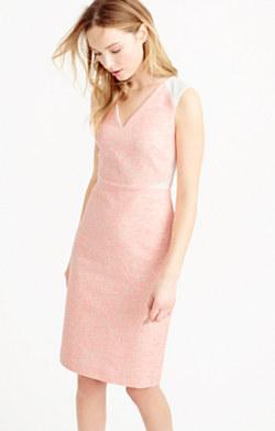 Sleeveless tweed and eyelet dress