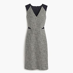 Petite sleeveless tweed and eyelet dress