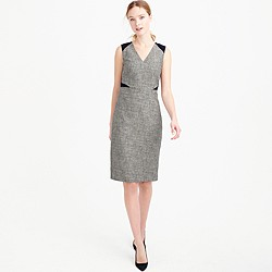 Sleeveless tweed and eyelet dress