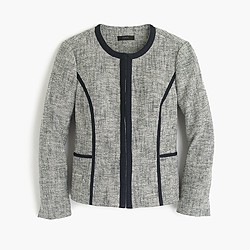 Collarless contrast jacket in cotton tweed