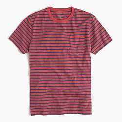 Slub cotton textured cotton pocket T-shirt in blue stripe