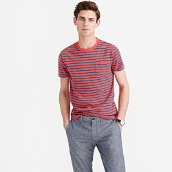 Tall textured cotton pocket T-shirt in blue stripe
