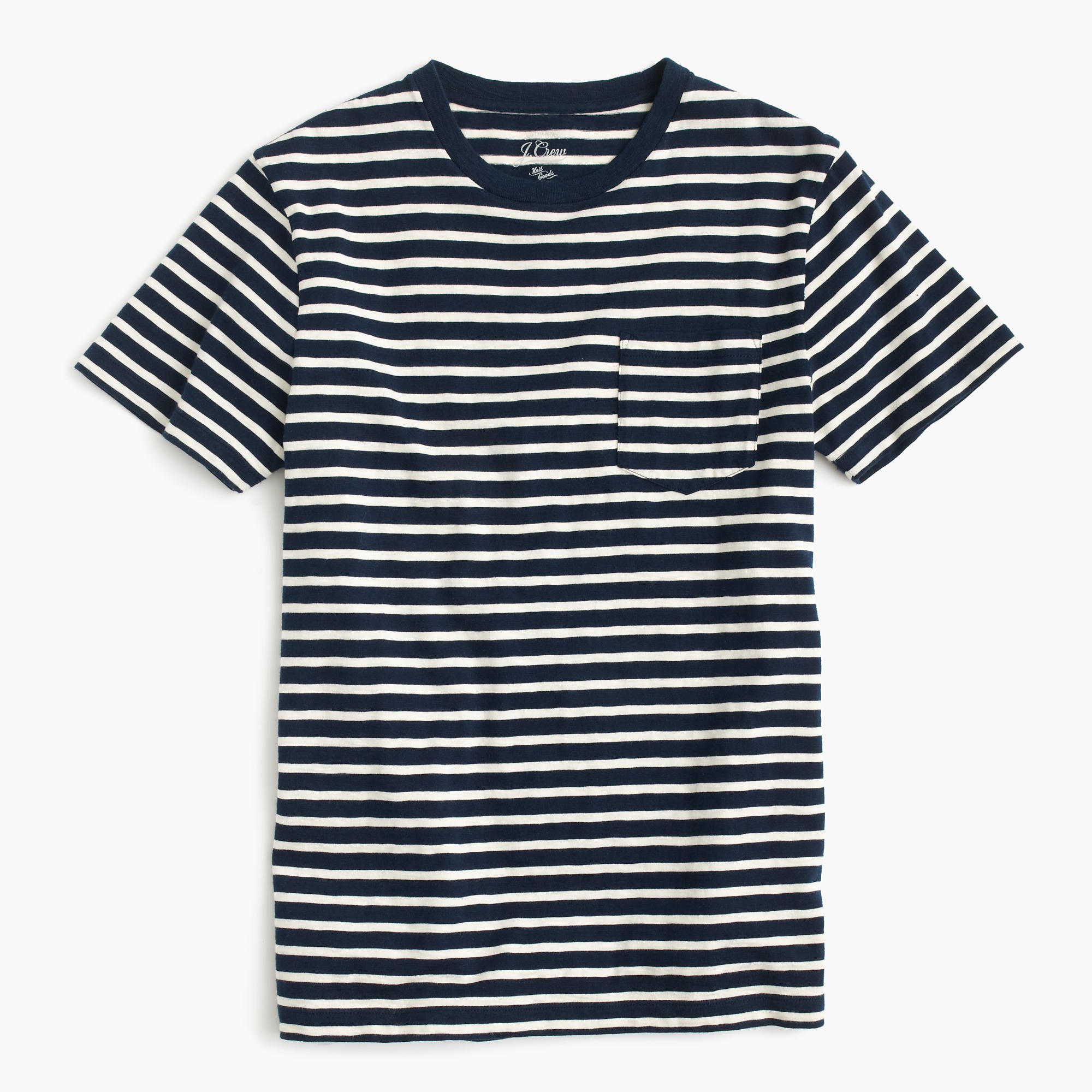 Slub cotton textured cotton pocket t shirt in blue stripe for Navy blue color shirt