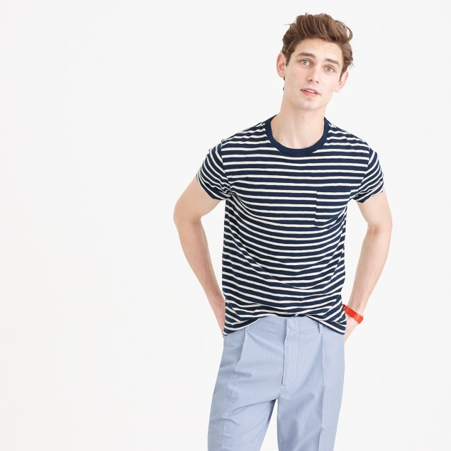 Tall slub cotton textured cotton pocket T-shirt in blue stripe