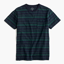 Textured cotton pocket T-shirt in vintage navy stripe