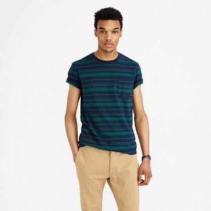 Textured cotton pocket T-shirt in vintage navy stripe