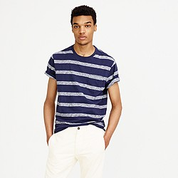 Textured cotton pocket T-shirt in navy stripe
