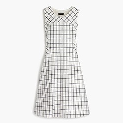 Sleeveless A-line dress in windowpane tweed