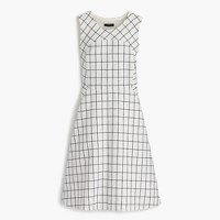 Petite sleeveless A-line dress in windowpane tweed