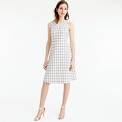 Sleeveless A-line dress in windowpane tweed