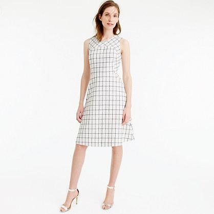 Petite sleeveless A-line dress in windowpane tweed