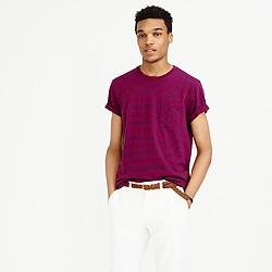 Textured cotton pocket T-shirt in deep raspberry stripe