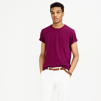 Textured cotton pocket T-shirt in deep raspberry stripe