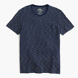 Wallace & Barnes T-shirt in medium indigo stripe