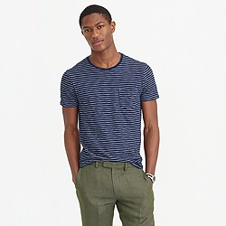 Wallace & Barnes T-shirt in medium indigo stripe