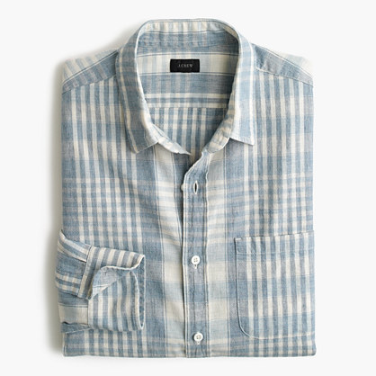 Slim slub cotton shirt in plaid