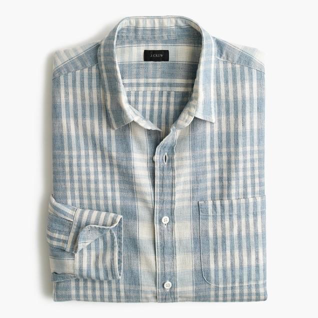 Slim slub cotton shirt in plaid