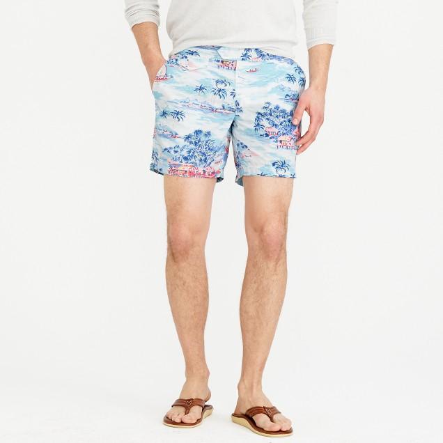 "6.5"" tab swim short in tropical dawn print"