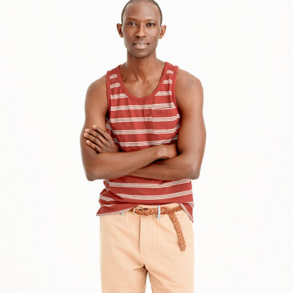 Textured cotton tank top in red stripe