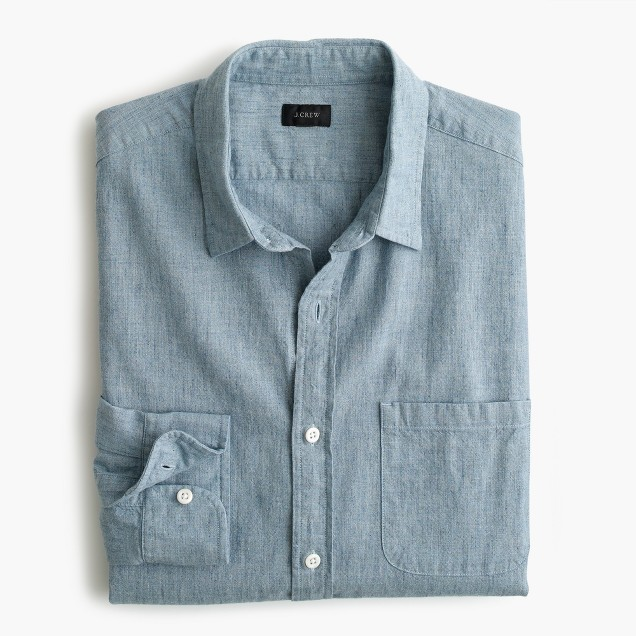 Slub cotton shirt in heather river