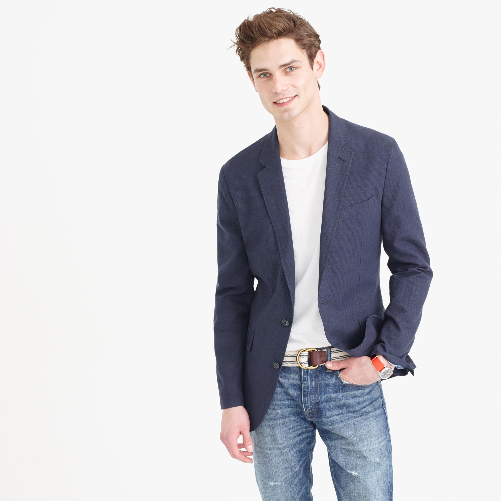 Ludlow Summerweight Cotton-Linen Blazer In Coastline Navy : Men&39s
